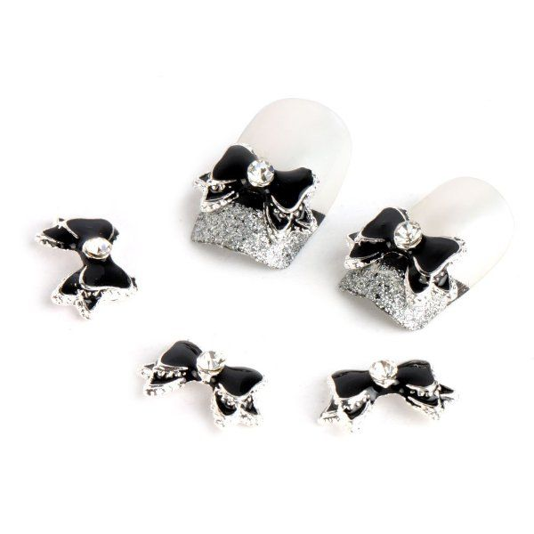 Yesurprise Black Silver Bow Tie 10 pieces Silver 3D Alloy Nail Art Slices Glitters DIY Decorations:Amazon:Beauty
