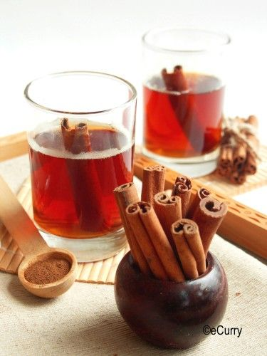 Cinnamon Tea --- One cinnamon stick, or 1 – 1 1/2 teaspoons of cinnamon powder,  Sugar/Honey (optional),  A teabag,  Warm milk (Optional),  Lemon (Optional)