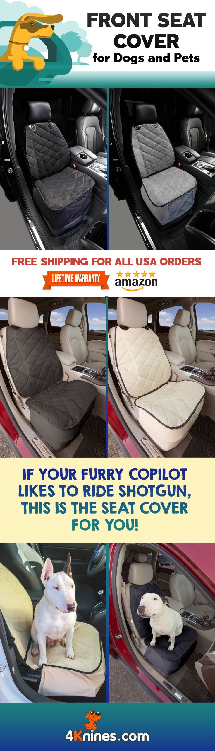 Protect your passenger seat from your furry copilot with a 4Knines Front Bucket Seat Cover http://4knines.com/pages/4knines-front-seat-covers  Available at 4Knines.com or on Amazon.com  If your pup likes to call shotgun, this cover will keep your seat clean and ready for a two legged passenger.