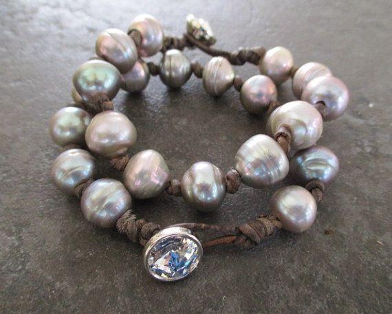 Prata Bracelete da pérola de água doce - POSH - prata cinzento pérola grande atados couro pilha pulseira queda de inverno boho chique