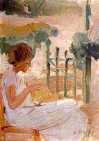 Όθων Περβολαράκης, Γυναίκα που κεντάει, 1940. Ιδιωτική Συλλογή.