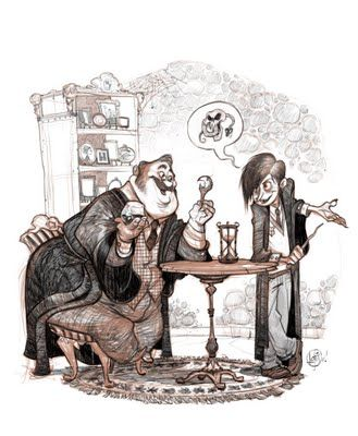 Slughorn and young Riddle visualized by a legitimate Disney artist - check out his blog for a few more Harry Potter pieces!