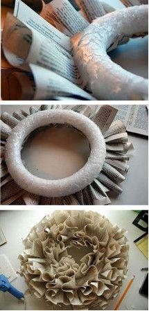 corona de navidad con reciclaje