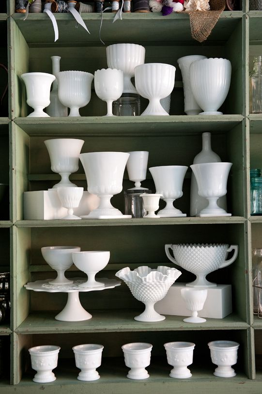 Milk glass - I do not have fancy china but I have a fancy built-in china cabinet and a butlers pantry. Love the idea of assembling a collection from estate sales, garage sales and online.