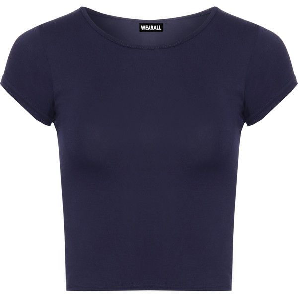 Agatha Short Sleeve Crop Top ($11) ❤ liked on Polyvore featuring tops, shirts, navy blue, navy top, navy shirt, navy blue tops, navy short sleeve shirt and short-sleeve shirt