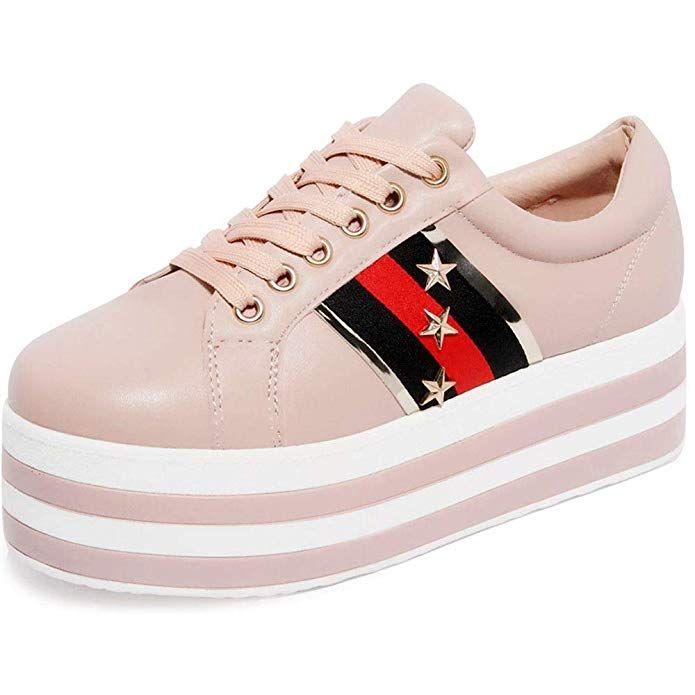 db3ad9b0d306d Amazon.com | shoewhatever Women's Lace-up High Top Hidden Heel ...