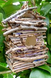 Backyard Jungle (Cub Scout Tiger Adventure) - Twig Birdhouse >>>>>  did this in the Fall of 2010.  We used a regular plastic milk jug covered with twigs