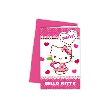 Uitnodigingen verjaardagsfeestje Hello Kitty 6 stuks  Hello Kitty uitnodigingen 6 stuks. Deze Hello Kitty uitnodigingen zijn gemaakt van karton en hebben aan de binnenkant icoontjes staan als een huisje telefoon etc. en een schrijflijn er naast voor alle informatie waar wanneer en hoelaat het feestje is.  EUR 3.95  Meer informatie
