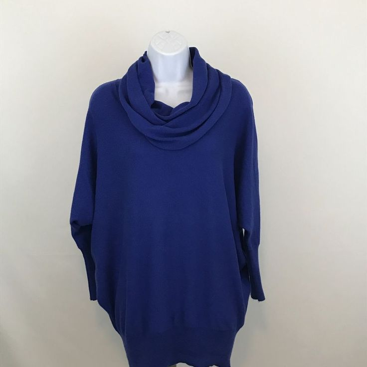 Ruby Moon Womens Cowl Neck Sweater Size M 3/4 Dolman Sleeves Blue Cotton Blend #RubyMoon #CowlNeck