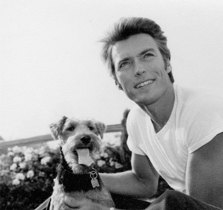 """Clint Eastwood and his dog photographed by Wallace Seawell, c. 1950s. """