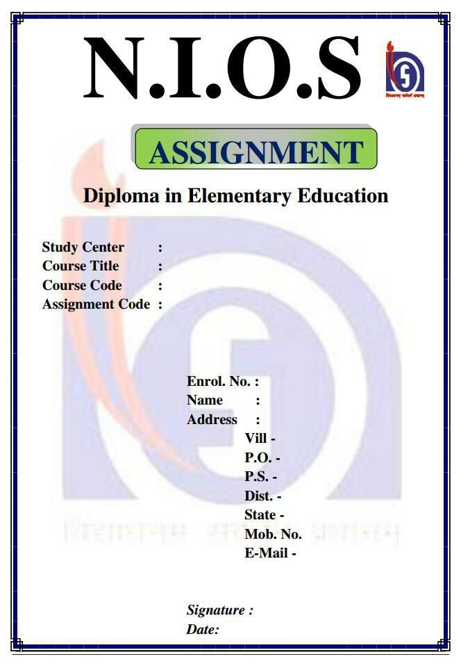 NIOS DElEd assignment front page format  Letter tracing