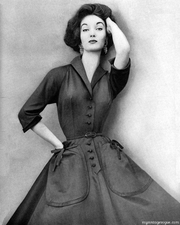 1951-evelyn-tripp-wearing-mollie-parnis: Wearing Mollie, Tripp Wearing, 1950S, Tripp 1951, Vintage Fashion, 1950 S Fashion, 1951 Evelyn, Evelyn Tripp