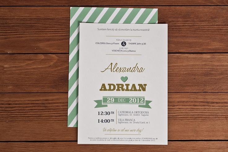 Acadea cu mentă și frișcă. Asta ne transmite verso-ul acestui model de invitație. Printr-un joc de culori, fonturi, cifre și litere, această invitație e un bâlci, dar în sensul frumos. E o aglomerare de dragoste, mesaje, veselie și joacă. #weddinginvitations #invitatiinunta #nuna #invitatii #invites # weddinginvites #customweddinginvites