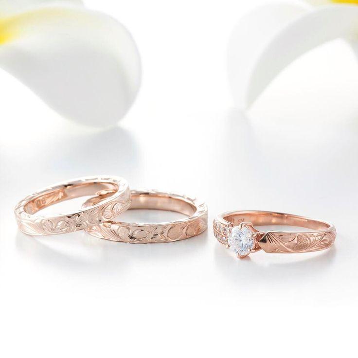 ハワイアンジュエリー リング 結婚指輪 婚約指輪 マリッジリング エンゲージリング エタニティリング ゴールド プラチナ ダイヤ 海 マカナ 記念日 プレゼント ピンクゴールド 恋人 夫婦 贈り物 波 リーフ スリム hawaii サーファー
