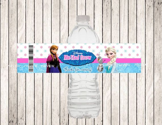 FROZEN Water Bottle Label DIY Printable File by MyDreamPartyShop