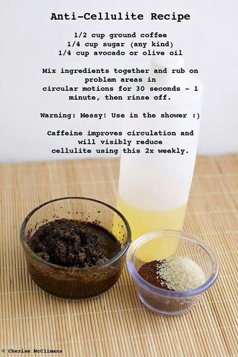 Cellulite scrub - I do this regularly but never added the sugar.  I will try this next time  :)