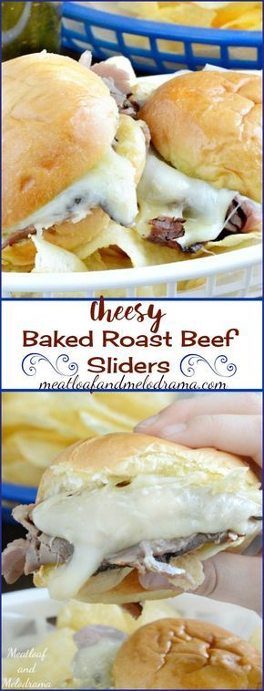 Cheesy Baked Roast Beef Sliders - These little sandwiches are loaded with provolone and mozzarella cheese and topped with a creamy Dijon mustard sauce. This quick and easy game day dinner takes take 10 minutes to make!