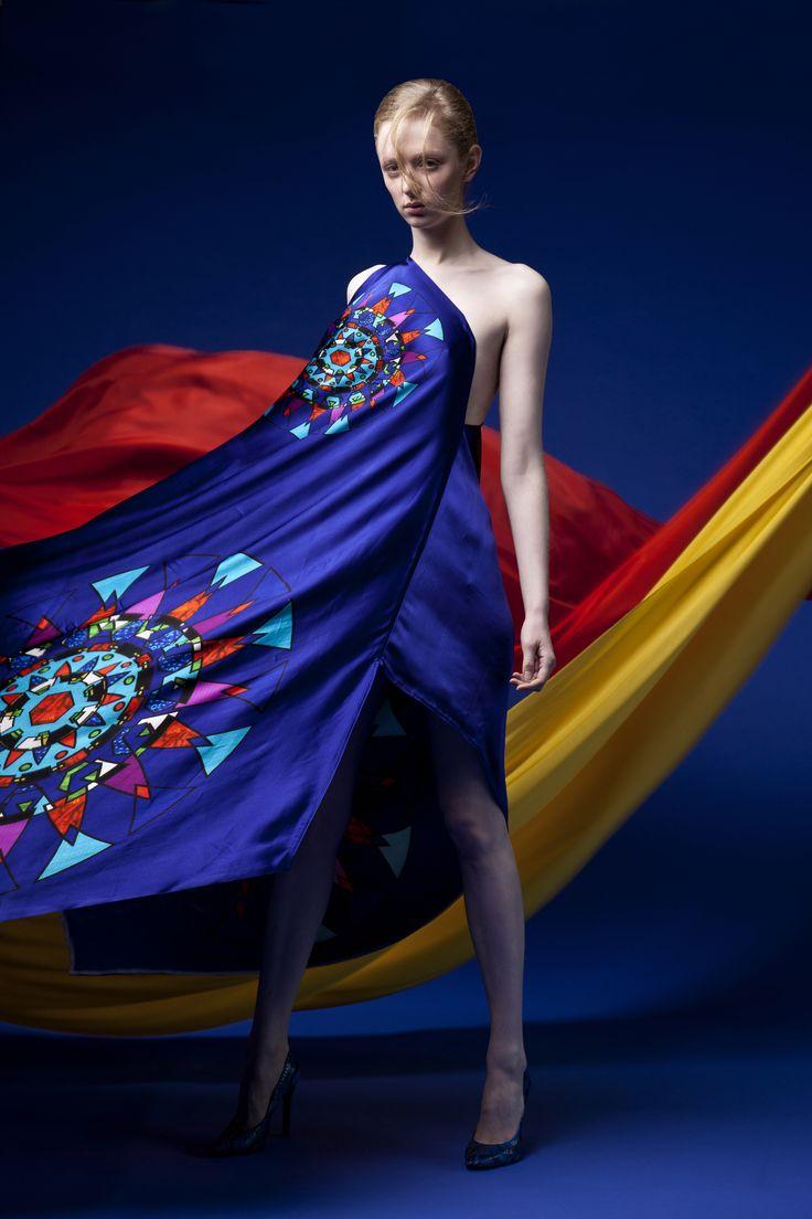 One shoulder Dress  Printed one shoulder dress 100% silk