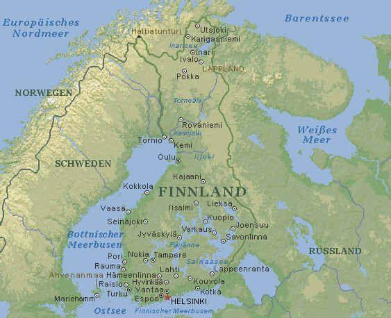 Finnland Karte im Finnland Reiseführer http://www.abenteurer.net/1626-finnland-reisefuehrer/