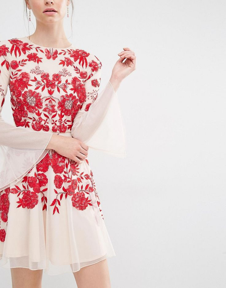 Image 3 ofFrock and Frill Embroidered Beaded Skater Dress With Fluted Sleeve