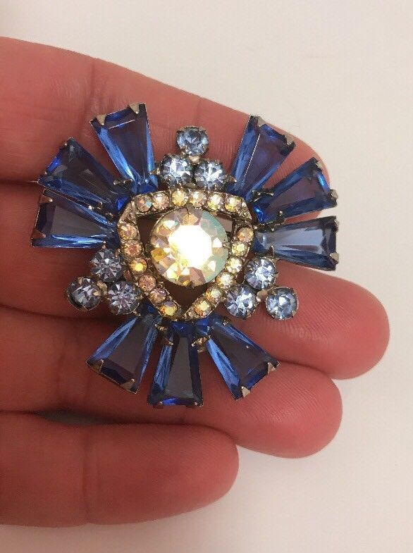 Vintage Silver Tone Blue AB Rhinestone Brooch Pin Juliana? | Jewelry & Watches, Vintage & Antique Jewelry, Costume | eBay!