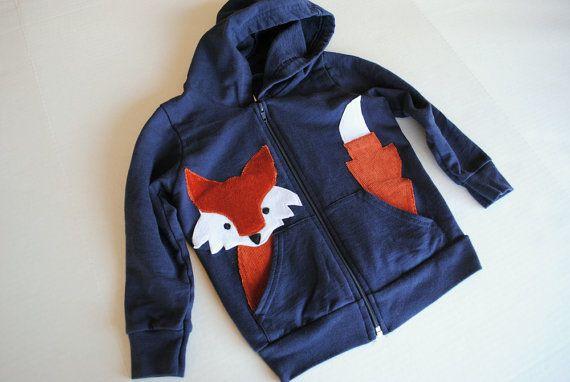 Fox Hoodie for Kids in Navy Blue by elisehooperdesigns on Etsy, $36.00