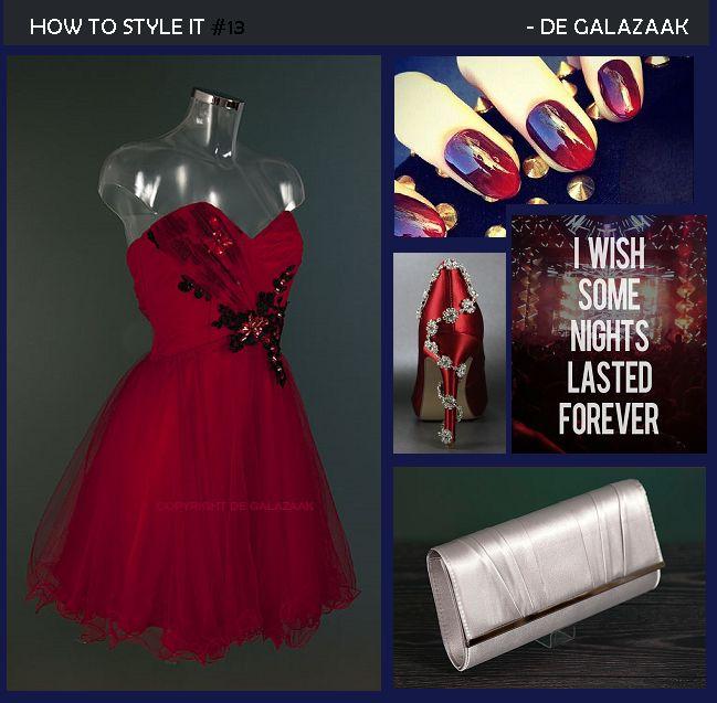 Party-look inspiratie: kies een feestelijk model jurk met tule of strass decoratie en kies deze in een leuke kleur! Combineer bijvoorbeeld een kort dieprood tule jurkje met frisse zilveren of gouden accessoires