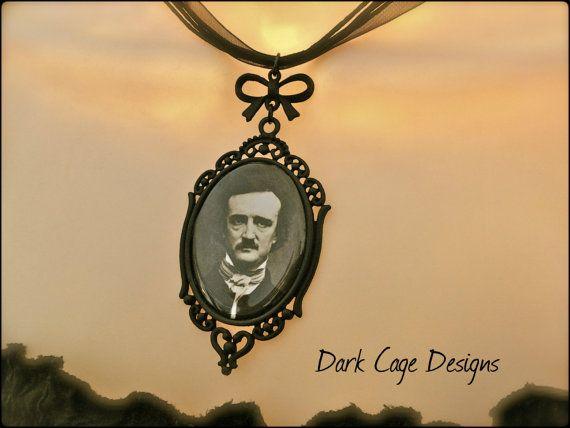 ༻❦༺ Gothic Victorian Edgar Allen Poe Cameo Filigree Necklace by DarkCageDesigns ༻❦༺