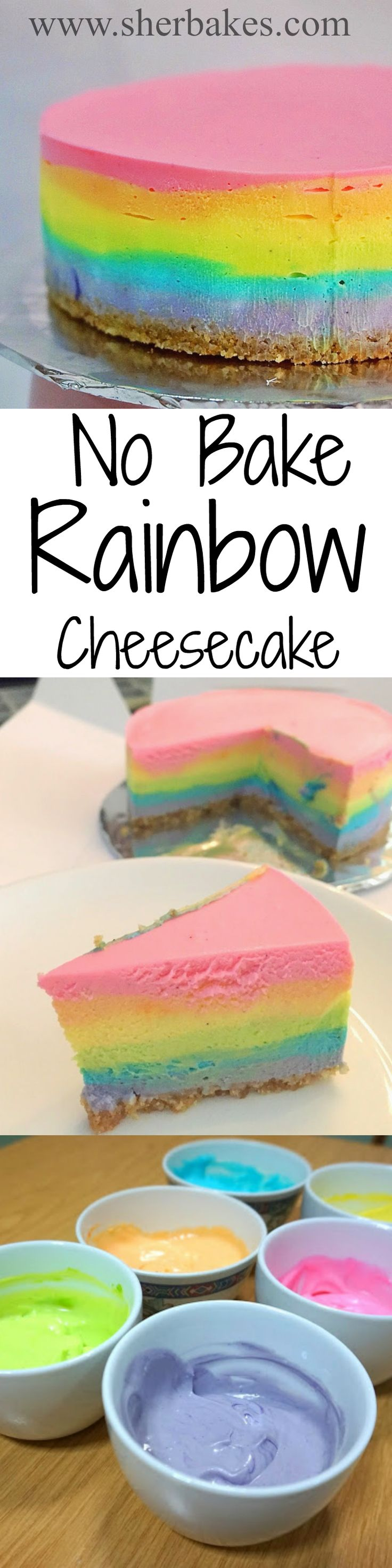 Steps on how easy it is to make a RAINBOW no bake cheesecake!! SO PRETTY toooo!! Now everyone loves a rainbow cake