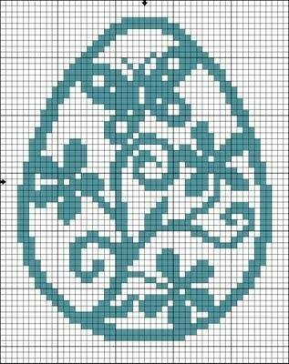 Easter egg cross stitch pattern w butterflies