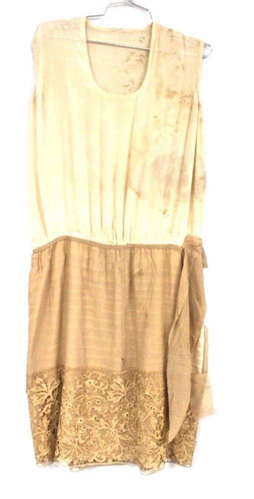 Vintage 1920s Flapper Dress Mocha Alençon Lace Cutter 40 B #Handmade