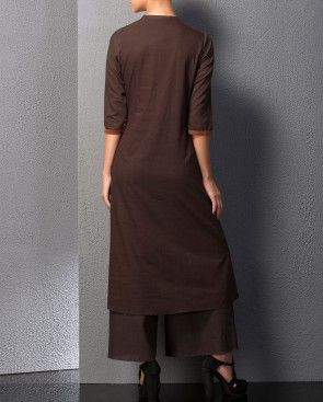 Brown Kurta Palazzo Set with Embroidery