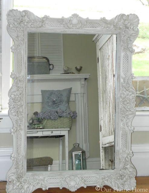 DIY Shabby Chic | DIY-SHABBY CHIC / Antiqued Shabby White Mirror {Tutorial}