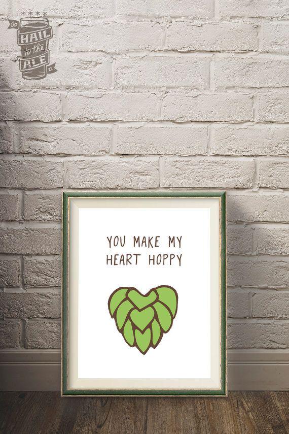 Happy Heart Beer Poster Craft Beer Beer Art Home by HailToTheAle
