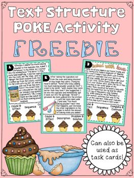 After teaching my students the 5 main ways authors organize information separately, my students were ready to look at a variety of texts and determine that different text structures the author used. I started with this baking themed POKE set to see where my students stood when asked to put all 5 text structures together.