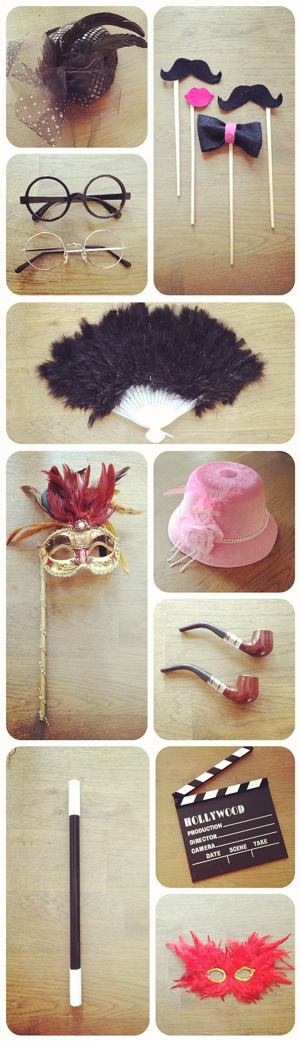 Vintage photobooth props package with mustaches, bow ties, masks, vintage hats etc