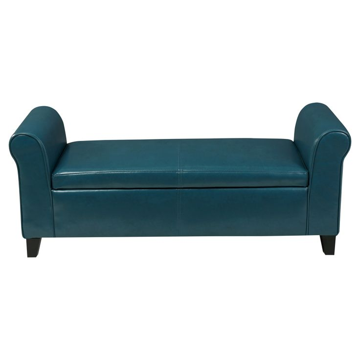 Torino Faux Leather Armed Storage Ottoman Bench - Christopher Knight Home, Blue