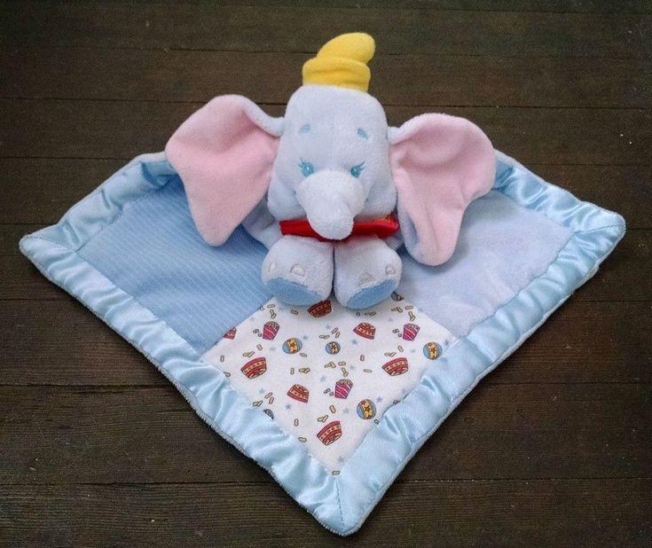 Vtg Disney Plush Dumbo Baby Lovey Patchwork Quilt Blue Satin Trim Elephant #Disney