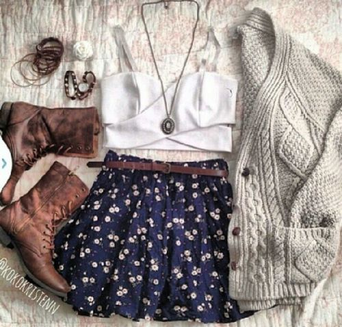 Hipster fashion. Maybe better paired with ballet flats or converse. Maybe combat boots as well instead of cowboy boots.