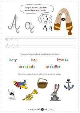 Poznaję literę Ą - Printoteka.pl