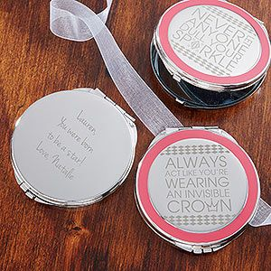"OMG I LOVE the cute girly quotes on these engraved compact mirrors! ""Never let anyone dull your SPARKLE"" and ""Always act like you're wearing an invisible crown"" are my favorite sayings they come in! You can have it engraved with any name ... these are so cute and would make great bridesmaid gifts! #BridesmaidGift #Wedding #: Brides Maids, Bridesmaidgift Wedding, Wedding Ideas, Gift Ideas, Bridesmaid Gifts, Dream Wedding, Compact Mirrors"