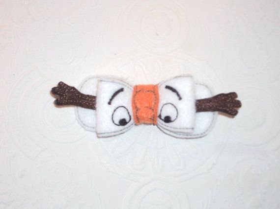 Girls Cute Snowman Inspired Felt Bow Clip by MacAndRoniDesigns