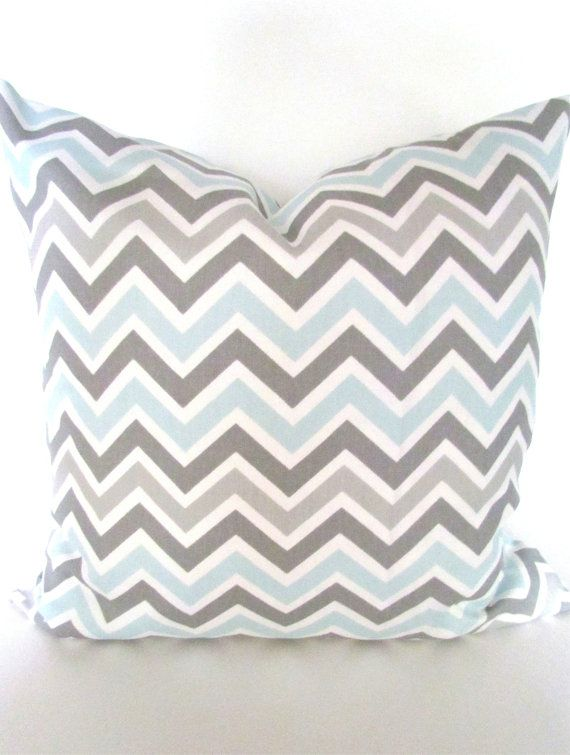 baby blue pillow covers grey chevron decorative throw pillows baby blue gray baby nursery pillow cover 16 18x18 20 baby boy home and living - Grey Throw Pillows