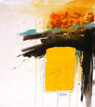 Абстрактный-желтый, 27,5x33,4in.  (70x85cm), масло, акрил на холсте
