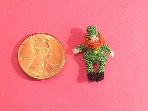 Micro Crochet Leprechaun Doll by margaretminibears on Etsy, $25.00