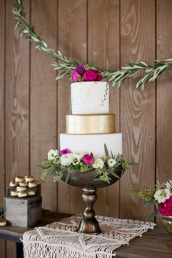 Elegant Bohemian Wedding Inspiration Gold & White Wedding Cake by Frost It Cakery