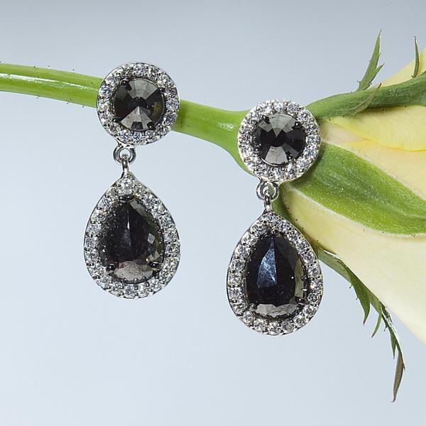 Pear Shaped Black and White Diamond Drop Dangle Earrings