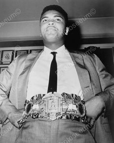 Muhammad Ali With Title Belt Vintage 8x10 Reprint Of Old Photo