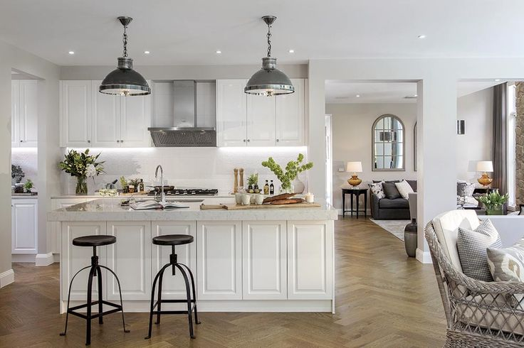 Open plan kitchen in the Brookwater display home with Classic Hamptons World of Style.
