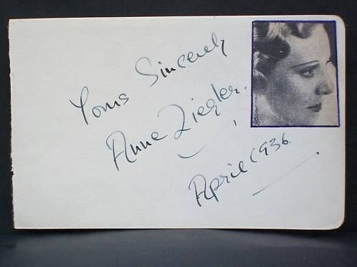 Autograph Album Page signed by Singer Anne Ziegler